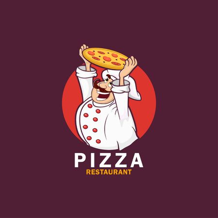 funny cook or chef with pizza. Vector illustration