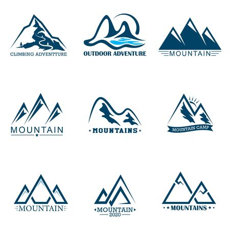 Set mountains logo. Logo outdoor adventure in mountain.