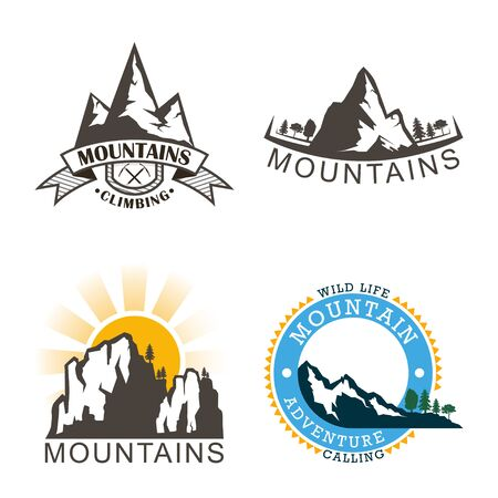 Set mountains  outdoor adventure in mountain. Vector illustration