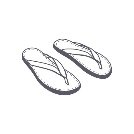 Beach slippers icon isolated on white background. 일러스트