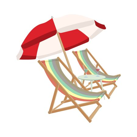 Relaxing scene on a breezy day, two deck chair, umbrella and a cocktail table. Vector illustration. 일러스트