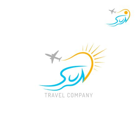 Travel agency logo isolated on white background.