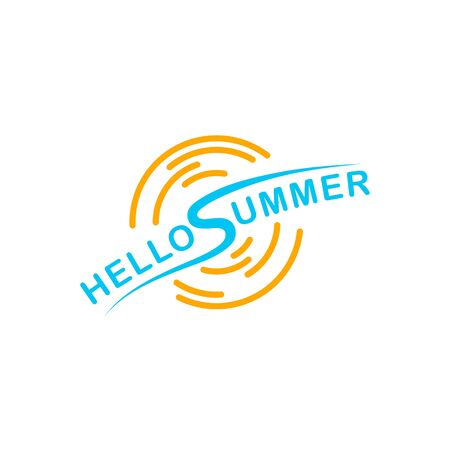 Logo hello summer isolated on white background. Vector illustration.