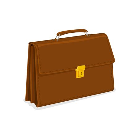Business briefcase with lock isolated on white background.