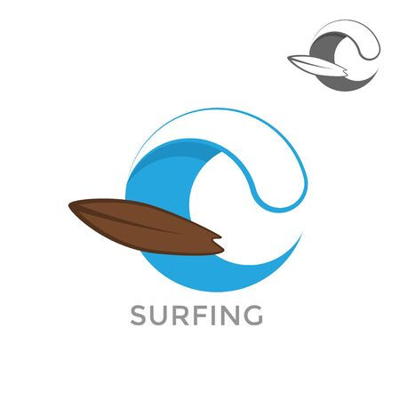 Sugfing logo template on a white background. Sea surf emblem. 일러스트