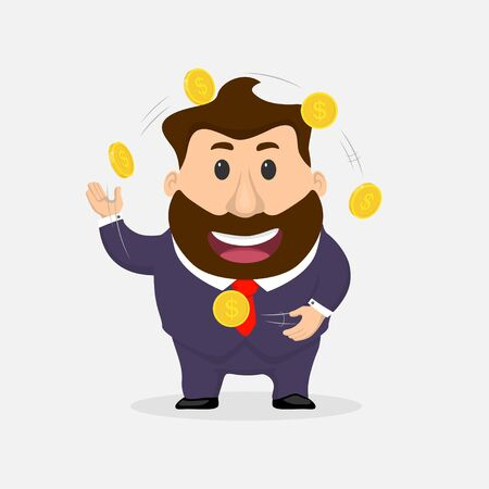Businessman juggler. Businessman juggles coins flat illustration.
