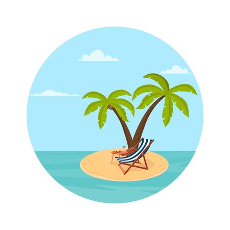 Illustration of an island on it palm trees a deck chair and a cocktail. Vector illustration.