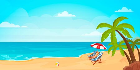 Hello summer. Relaxing scene on a breezy day, deck chair and umbrella. Vector illustration.