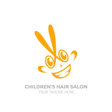 Childrens hair salon logo. Funny logo for Childrens hair salon. 일러스트