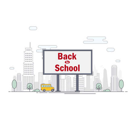 billboard with the words back to school on the background of the city 일러스트