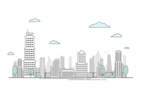 City Street Landscape View with Buildings. Flat Line Outline Stroke Illustration.