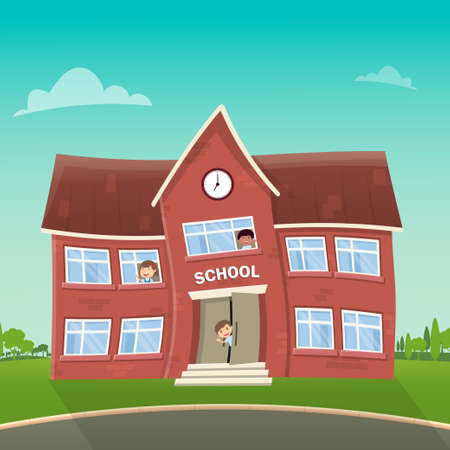 Illustration Back to school. School and children in it waving their hands.