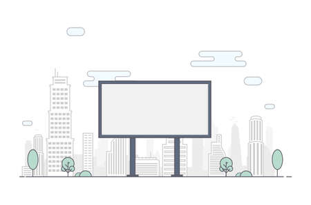 Billboard on the background of the city. Flat Line Outline Stroke Illustration.