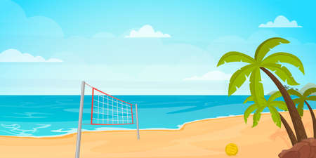 Illustration of beach volleyball, beautiful island and palms. 일러스트