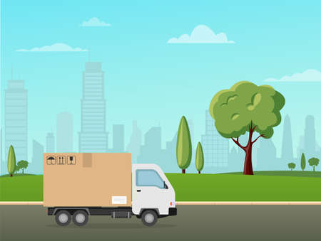 Delivery truck on the landscape city. Flat style vector illustration delivery service. 일러스트