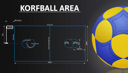Korfball court and korfball ball realistic details. Sport background.