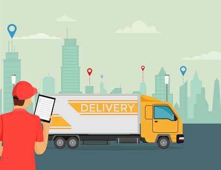 Delivery courier holds a tablet in his hand with a truck on the background. 일러스트