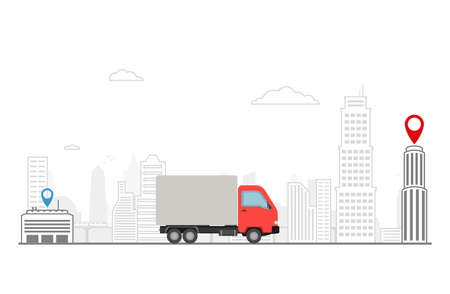 Delivery truck on the landscape city. Delivery of cargo to the appointed place. 일러스트