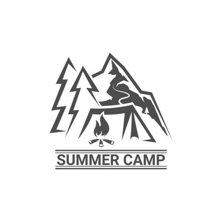 Summer camp logotype. Camp outdoor adventure concept logo.