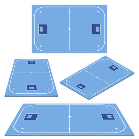 Set Floorball court color for your tactics or design. Sport background.