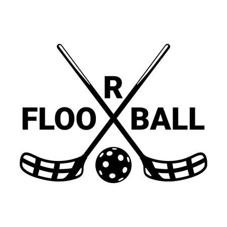 Crossed floorball sticks icon and floorball ball.