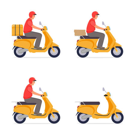 Set illustration. Delivery, the guy on the moped is carrying parcel . Flat cartoon design.
