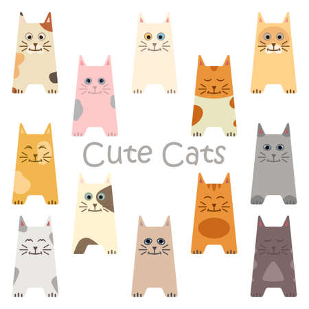 Set of cartoon cute cats. 12 cute cats. 일러스트