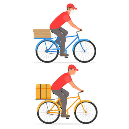 Delivery service. Man riding a bicycle with delivery backpack on it.