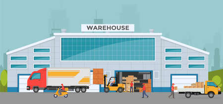 Warehouse out side. Big warehouse and transportation beside. Boxes on pallet shelves people loaders working of warehouse