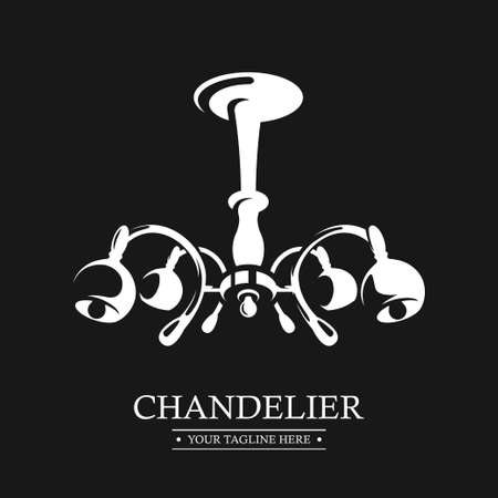 Chandelier . Sign Lamp Branding Identity. Design template Isolated on a black background