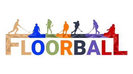 Floorball player silhouette background concept with triangle splashes.