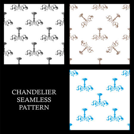 Chandelier seamless pattern. Set pattern lamp. Design template Isolated on a white background.