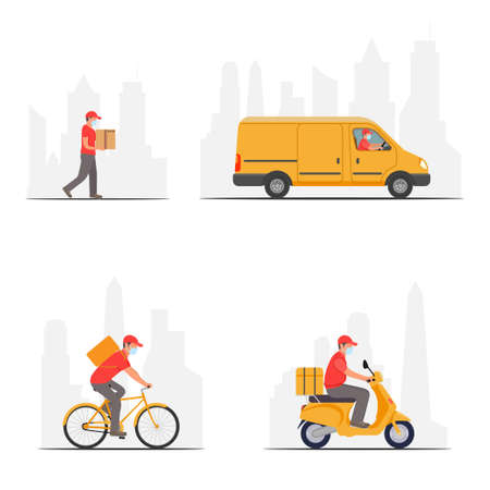 Set delivery service. Man riding a bicycle, car, scooter. 向量圖像