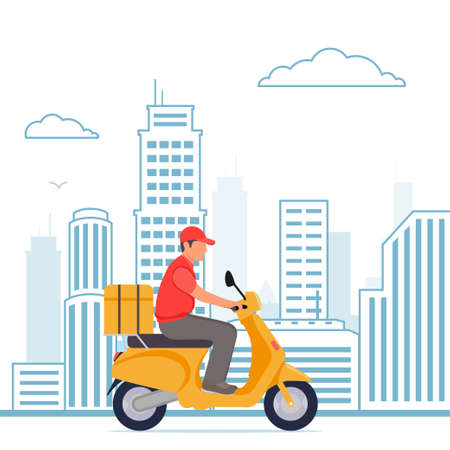 Delivery, the guy on the moped is carrying parcel . Flat cartoon design.