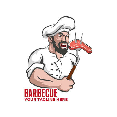 Barbecue  Chef with meat on a fork.