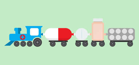 Medications train vector concept. Pill bottle, drugs blister and pill in flat style. 向量圖像