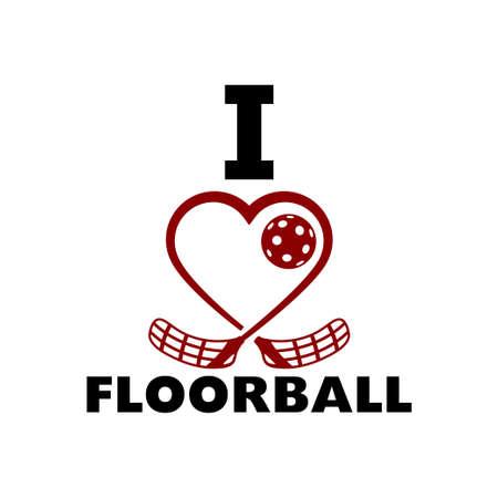 Floorball love . Crossed floorball sticks form a heart. 向量圖像