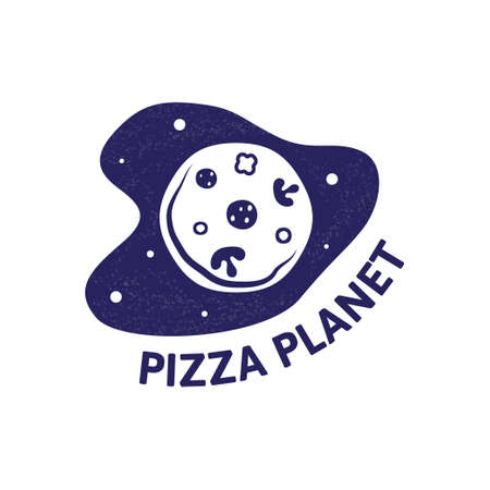 pizza planet in space. Modern pizza logotype or eating icon.