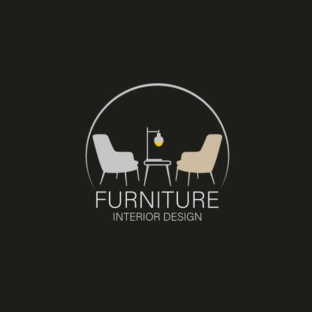 furniture design concept. Symbol and icon of chairs, sofas, tables, and home furnishings.