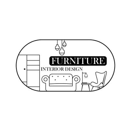 furniture, lines style. Symbol and icon of chairs, sofas, tables, and home furnishings. 向量圖像