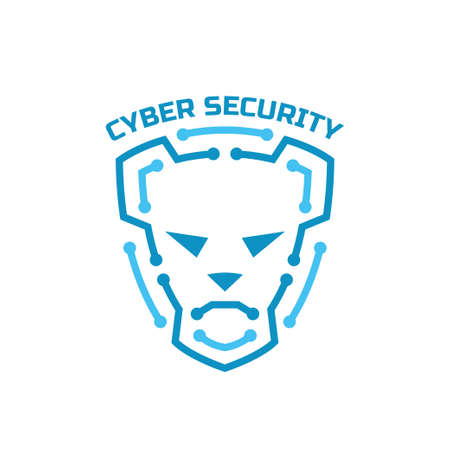 cyber security. Security agency sign. Shield protection and dog on him. 向量圖像
