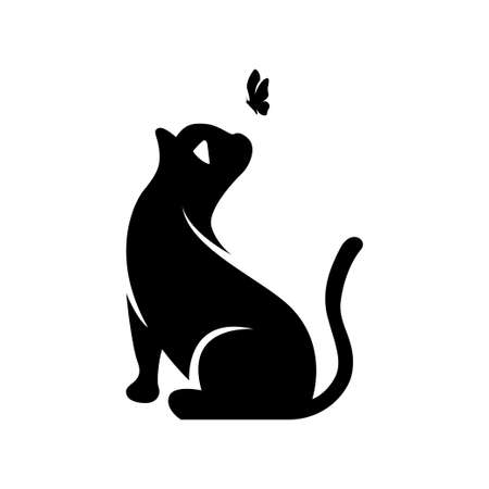 Silhouette of a cat and a flying butterfly above it