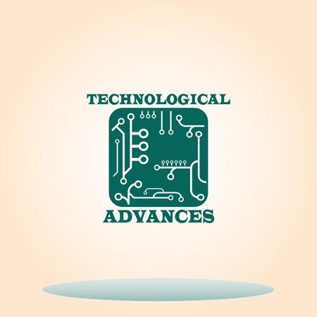 industrial scientific: Circuit board, microchip icon. Vector illustration.