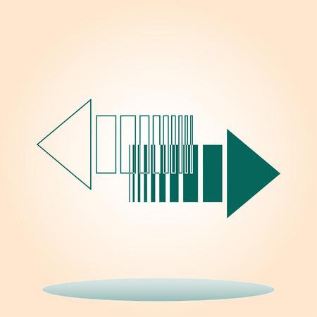La flecha indica la dirección del icono, ilustración vectorial