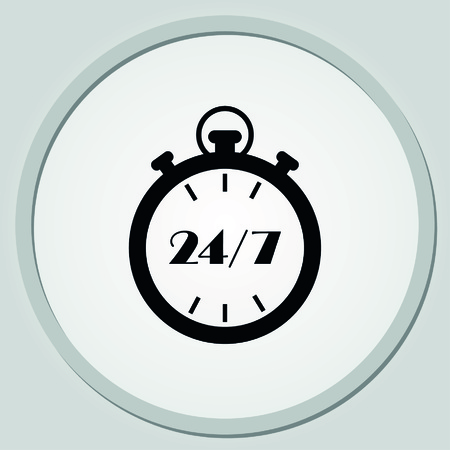 aftersale: Open 24 7 icon with clock Illustration