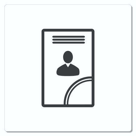 determining: Document determining identity icon. Flat Vector illustration
