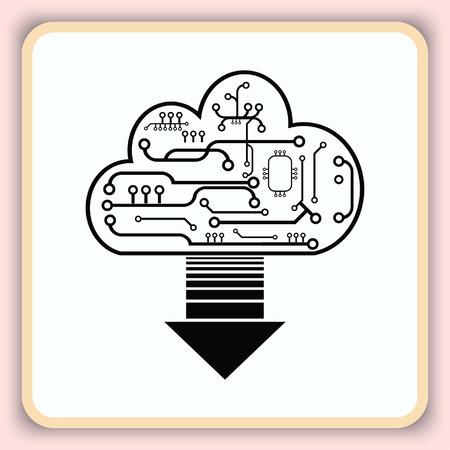 technology: Technology innovation icon. Cloud technology, vector illustration.