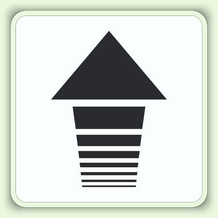 score under: Arrow indicates the direction icon, vector illustration. Flat design style Illustration