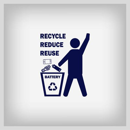 stop hand silhouette: Throw away the trash icon, recycle icon. Flat Vector illustration