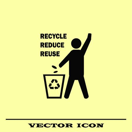 Throwing trash, recycle, pollution, recycling and eco icon. The concept of ecology problem.